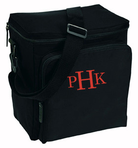 Monogrammed  Large  12 Pack Cooler - www.tinytulip.com Red Romana Font