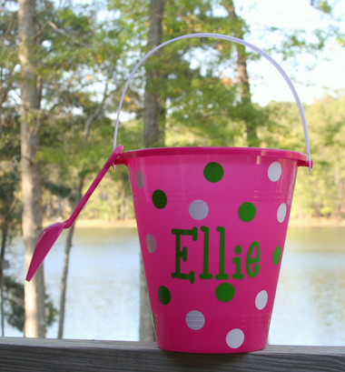 Hot Pink Monogrammed Sand Bucket  with Lime Green Boys R Gross Font with White  Second Polka Dot Color