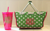 Mini Market Tote Basket    14250   $21.50 Paired with Hot Pink Acrylic Straw Cup