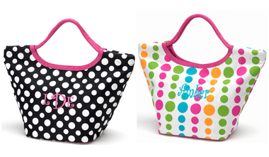 Colored Dot & Polka Dot Everything Totes Monogrammed