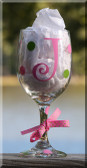 Personalized Monogrammed Polka Dot Wine Glass