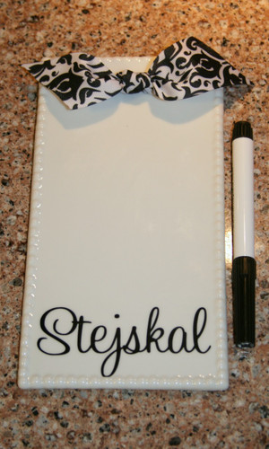 Personalized Ribbon Write On Magnet Tile