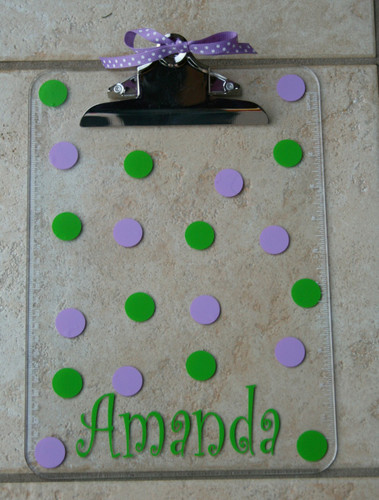 Lime Green Curly Font with Lavander Second Polka Dot Color