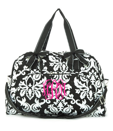 Quilted Damask Upright Duffle Monogrammed ~ Double Strap - www.tinytulip.com