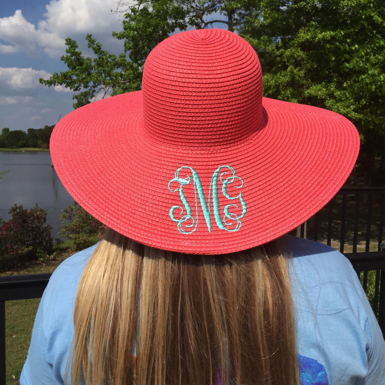 1a33288660f Monogrammed Floppy Wide Sun Hat ~ Summer ~ Beach ~ Derby