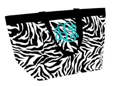 Zebra XL Reusable Eco Friendly Zip Tote Monogrammed ~ Beach Bag
