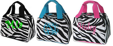 Monogrammed Zebra Lunch Tote  www.tinytulip.com