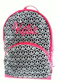 Laminated Peace Backpack ~ Hot Pink Trim Monogrammed - www.tinytulip.com