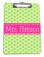 Lime Green Polka Dots with Classic Dot Ribbon  Hot Pink Blake Font