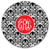 Monogrammed Melamine Plate ~ www.tinytulip.com Black Damask Pattern with Solid Circle Interlocking Red Font