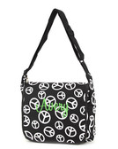 Monogrammed Black & White Peace Messenger Bag  - www.tinytulip.com