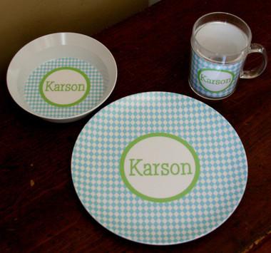 Personalized Plate, Bowl & Mug Set ~ Monogrammed - www.tinytulip.com