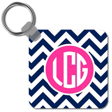 Personalized Keychain ~Key Ring~ Monogrammed - www.tinytulip.com Navy Chevron with Solid Circle Hot Pink Circle Font