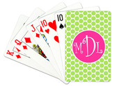 Personalized Playing Cards~Monogrammed - www.tinytulip.com Lime Green Polka Dot with Solid Circle Hot Pink Curly Font