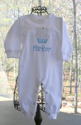 Monogrammed  Boys Birthday Applique Cupcake Romper Longall www.tinytulip.com