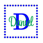 Dot Square Frame Wall Vinyl  www.tinytulip.com Royal Blue Frame Color & Lime Green Font Color