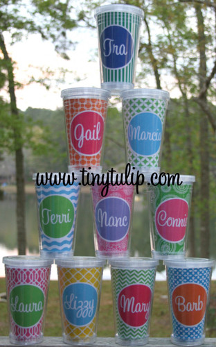 Insulated Acrylic Straw Cup Monogrammed www.tinytulip.com