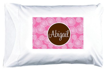 Personalized Pillowcase Monogrammed  www.tinytulip.com Lilly Pink Zinnia Pattern with Solid Circle Chocolate Brown Cursive Font