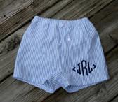 Boys Seersucker Swim Suit Trunks   www.tinytulip.com Blue Seersucker with Navy Diamond with Ends Monogram