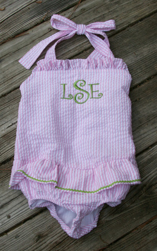 Monogrammed Girls Seersucker Swim Bathing Suit   www.tinytulip.com Pink Seersucker with Lime Green Curly Font