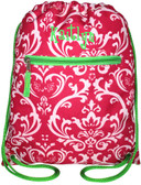 Damask Drawstring Backpack  www.tinytulip.com Pink Damask Backpack with Lime Green Boys R Gross Font