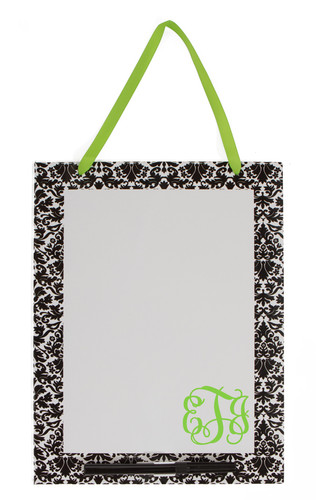 Monogrammed Dry Erase Board  www.tinytulip.com Damask Board with Lime Green Interlocking Font