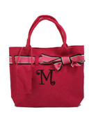 Monogrammed Ribbon Jute Purse   www.tinytulip.com Hot Pink Jute with Brown Curly Font