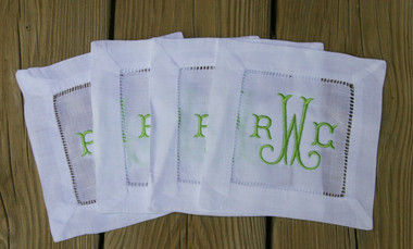 Monogrammed Hemstitch Cocktail Napkins   Set of 4  www.tinytulip.com Lime Green Arabesque Font