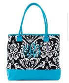Damask Insulated Cooler Tote Bag Monogrammed  www.tinytulip.com Turquoise with Turquoise Emma Script Font