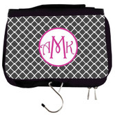 Monogrammed Travel Cosmetic Hanging Bag  www.tinytulip.com Charcoal Gray Tiles with Hollow Circle Hot Pink Victorian Font