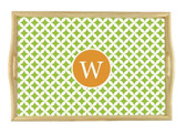 Monogrammed Natural Wood Serving Tray  www.tinytulip.com Lime Green Retro Pattern with Solid Circle Orange Romana Font