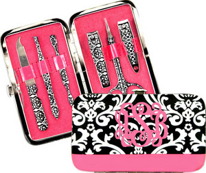 Damask Manicure Pedicure Set  www.tinytulip.com  Pink Interlocking Font