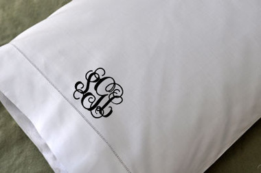 Linen Hemstitch Pillowcase   www.tinytulip.com Black Interlocking Font