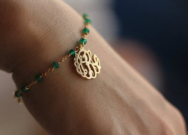 Monogrammed Cut Out Gold Plated Sterling Silver Bracelet with Green Onyx   www.tinytulip.com
