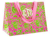 Pink and Green Preppy Monogrammed Reusable Department Tote  www.tinytulip.com White Interlocking Font