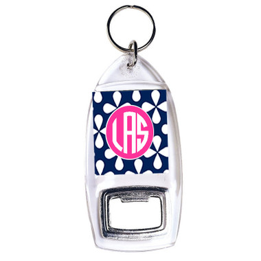 Monogrammed Bottle Opener Keychain  www.tinytulip.com Navy Clovers pattern with Solid Circle Hot Pink Font