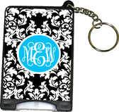 Monogrammed Flashlight Keychain   www.tinytulip.com Black Damask Pattern Turquoise Solid Circle Interlocking Font