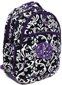 Damask Large Monogrammed  Computer Backpack  www.tinytulip.com Purple Damask with Purple Circle Font