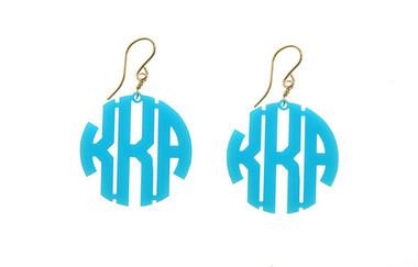 Acrylic Block Monogram Earrings  www.tinytulip.com Turquoise