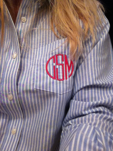 Monogrammed Oxford Blue Stripe Shirt  www.tinytulip.com Hot Pink Circle Font