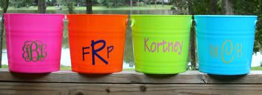 Monogrammed Plastic Bucket with Handles   www.tinytulip.com