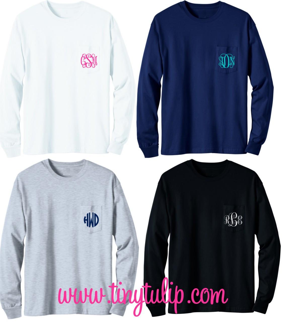 Long Sleeve Monogrammed T Shirt