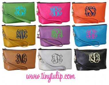 Monogrammed Leatherette Wristlet www.tinytulip.com