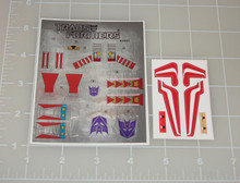 Transformers G1 Thrust sticker sheet with factory pre-applied stickers