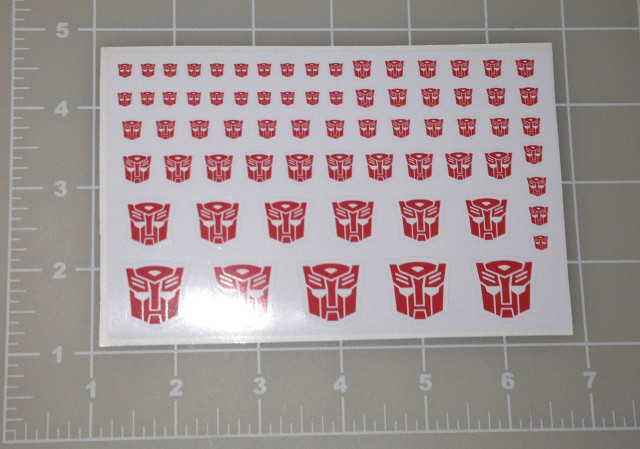 Transformers Red Autobot Decals Purple Decepticon Decals Two sheets
