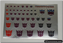 Transformers G1 Decepticon Symbol sticker sheet with matte silver background