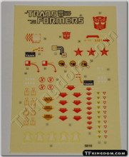 Transformers G1 Omega Supreme Sticker Sheet.