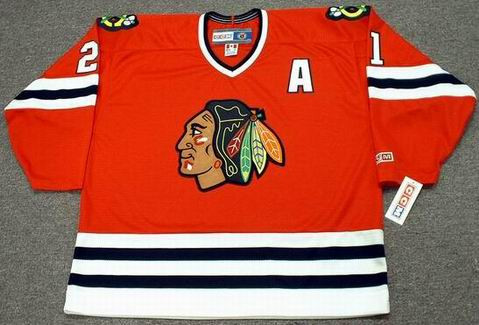STAN MIKITA Chicago Blackhawks 1975 CCM Throwback Away NHL Hockey Jersey - Front