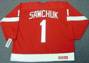 TERRY SAWCHUK Detroit Red Wings 1960's Home CCM Throwback NHL Hockey Jersey - BACK