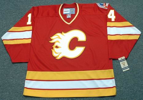 THEOREN FLEURY Calgary Flames 1989 Away CCM NHL Vintage Throwback Jersey - FRONT